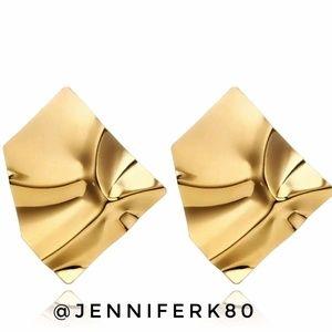 Modern Huge Goldtone Earrings